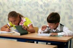 Pupils at classroom. Canon 20D. Schoolboys at a lesson at school Stock Photos