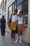 Pupils in Cuba. Pupils dressed with their uniforms in Cuba Stock Photography