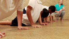 Pupils doing push ups during sport lesson. At elementary school stock video
