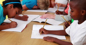 Pupils drawing in notepads during class. In elementary school stock video