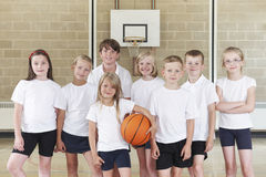 Pupils In Elementary School Basketball Team Stock Image