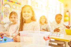 Pupils in elementary school in class at class. Pupils in elementary school during class having fun stock photography