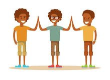 Pupils giving each other a high five Stock Photo
