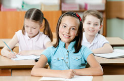 Pupils are glad to study. Pupils are are glad to study. They listen to every word of teacher royalty free stock images