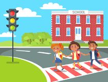 Pupils go Home After Classes Crossing Pedestrian. Vector illustration. Schoolchildren holding hand on background of school building Royalty Free Stock Photography