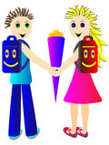 Pupils go in September for the first time in school. Pupils - a boy and a girl go in September for the first time in school and carry a briefcase and cornet Stock Image