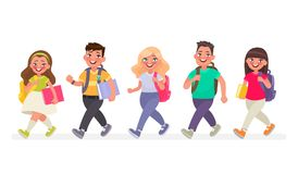 Pupils go to primary school. Vector illustration. In cartoon style Stock Images