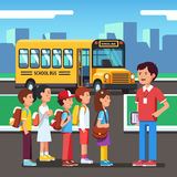 Pupils going to a city road trip Royalty Free Stock Photos