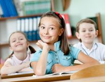 Pupils are happy to attend classes Royalty Free Stock Photo