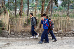 Asian students, pupils walking back home in Bandung Indonesia Stock Images