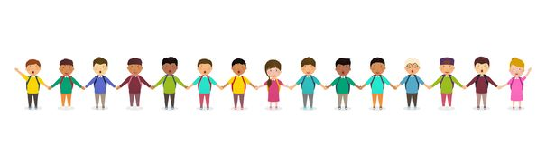 Pupils and kids holding hands. Children`s group of school children stands in row. Happy crowd of pupils on white background. Illustration royalty free illustration
