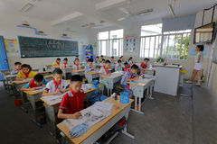 Pupils learn chinese painting Stock Image