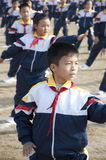 Pupils learn martial arts in China royalty free stock photo