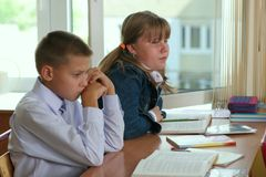 Pupils. Lesson royalty free stock photography