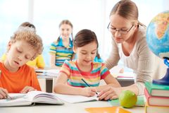 Pupils at lesson Stock Images