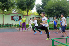 Pupils on physical education. The banzhong national minority primary school of county-level city fuan, fujian province, china. in fuan city, the ethnic royalty free stock photos