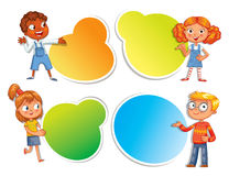 Pupils pointing at a poster Stock Image