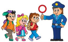 Pupils and policeman image 1 Royalty Free Stock Photo