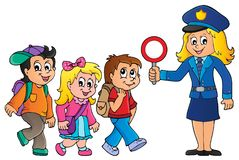 Pupils and policewoman image 1 Royalty Free Stock Images