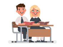 Pupils of Primary school sit at the desk. A boy and a girl are r. Eading books. Vector illustration in cartoon style Stock Image