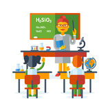 Pupils raising hands during chemistry class Royalty Free Stock Images