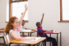 Pupils raising their hands during class royalty free stock photography