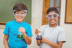 Pupils at science lesson in classroom Stock Photography