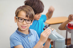 Pupils at science lesson in classroom. At the elementary school Stock Photos