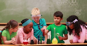 Pupils at science lesson in classroom. At the elementary school stock video