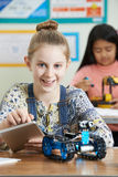Pupils In Science Lesson Studying Robotics. Portrait Of Pupils In Science Lesson Studying Robotics Stock Images