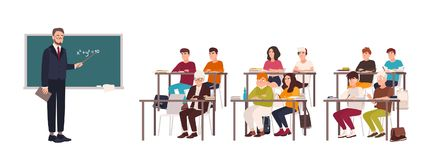 Pupils sitting at desks in classroom, demonstrating good behavior and attentively listening to teacher standing beside. Chalkboard and explaining lesson. Flat Royalty Free Stock Photography
