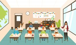 Pupils sitting at desks in modern classroom, young female teacher teaching them. Elementary school boys and girls. Studying on lesson in class. Colorful vector vector illustration