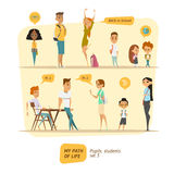 Pupils and students vector set Royalty Free Stock Images