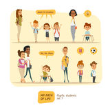 Pupils and students vector set Stock Photography