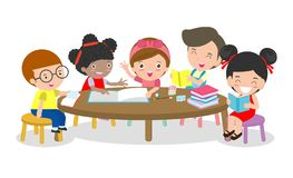 Pupils study in the classroom, Boys and girls sitting around round table, children reading books and discuss them. Multiracial kids creative activity,Vector royalty free illustration