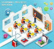 Pupils study in the classroom. Concept of learning. Isometric flat design. Vector. Illustration Stock Photo