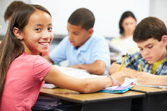 Pupils Studying At Desks In Classroom Stock Images