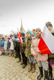 Pupils taking part in the ceremony, National day of remembrance. The ceremony dedicated to the soldiers cursed took place today also in Rembertów, at the Stock Photos