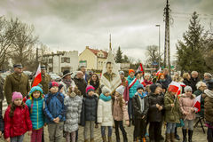 Pupils taking part in the ceremony, National day of remembrance. The ceremony dedicated to the soldiers cursed took place today also in Rembertów, at the Stock Photography