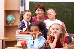 Pupils and teacher Stock Photos