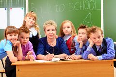 Pupils and teacher Stock Photography