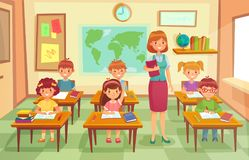 Pupils and teacher in classroom. School pedagogue teach lesson to pupil kids. Schools lessons at class cartoon vector stock illustration