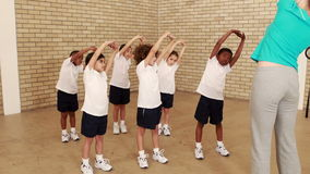Pupils and teacher during sports lesson. At the elementary school stock video footage