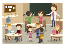Pupils and teacher starting class with school background Stock Photos