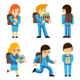 Pupils with textbooks Stock Images