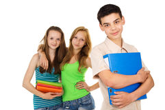 Pupils with textbooks, friends Royalty Free Stock Photography