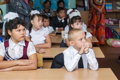 Pupils the 4th grade in the classroom with their parents September 1 Stock Images