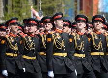 The pupils of the Tver Suvorov military school on dress rehearsal of parade on red square in honor of Victory Day. Stock Image