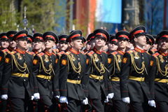 The pupils of the Tver Suvorov military school on dress rehearsal of parade on red square in honor of Victory Day. Stock Images