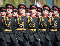 The pupils of the Tver Suvorov military school on dress rehearsal of parade on red square in honor of Victory Day. Royalty Free Stock Images